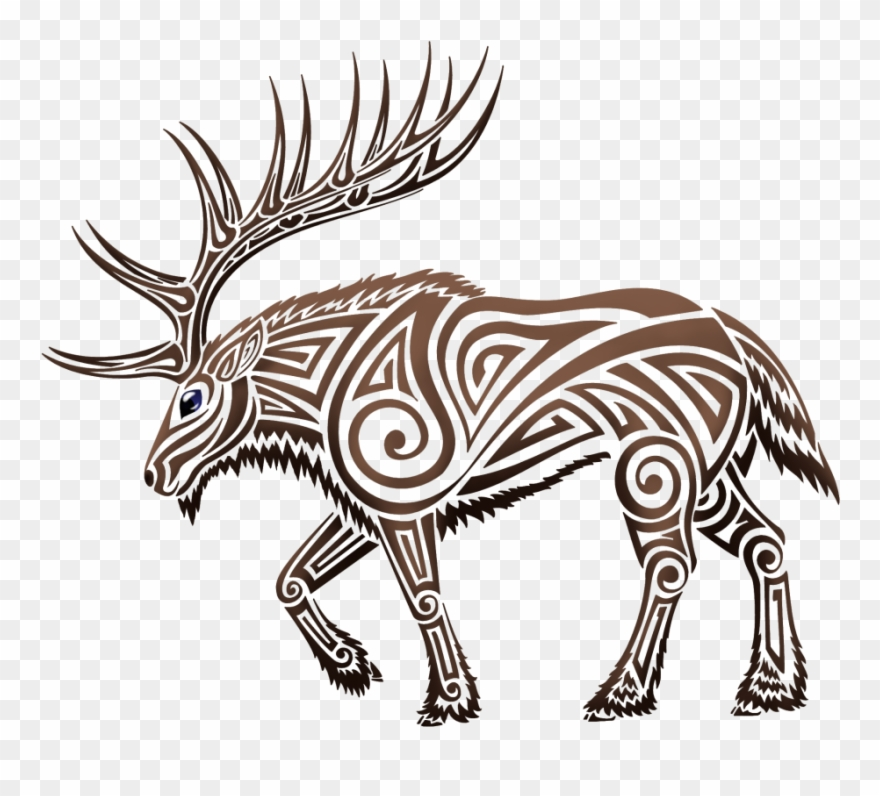 Clip Library Download Elk Clipart Tribal Free - Tribal Elk ... png royalty free library