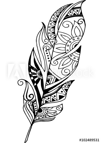 Tribal feather clipart black and white clip library stock Tribal Feather Drawing at PaintingValley.com | Explore ... clip library stock