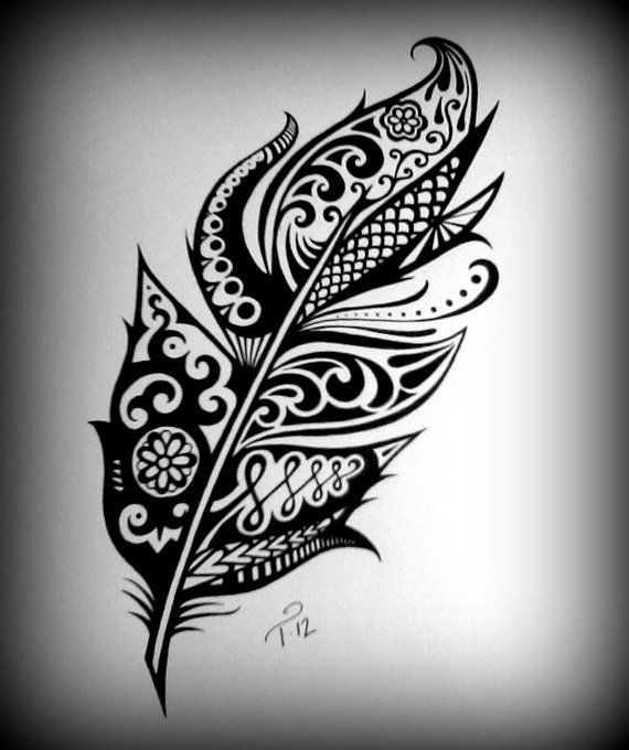 Tribal Henna Feather Art Drawing Custom Ink Drawing Black ... jpg library library