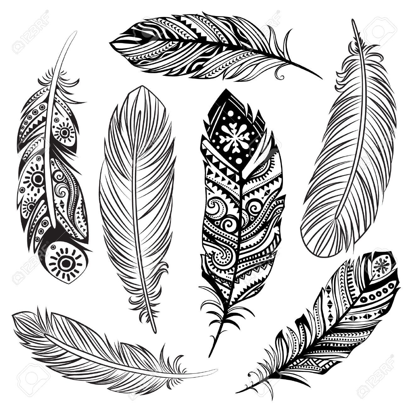 Isolated Set Of Black Ethnic Tribal Feathers Royalty Free ... vector free download