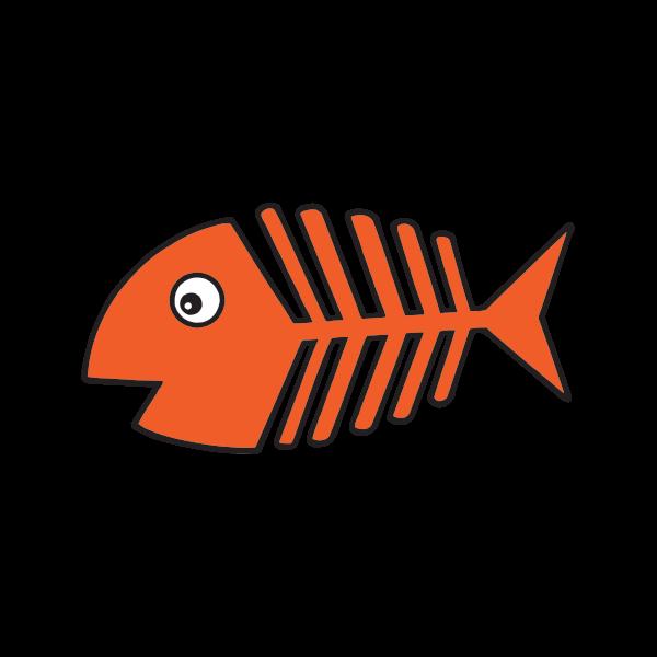 Printed vinyl Cartoon Fishbone Orange | Stickers Factory png black and white download