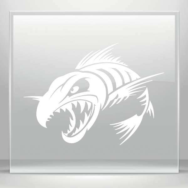Tribal fish bones clipart png freeuse library Simple color vinyl Aggressive Fish Skeleton | Stickers Factory png freeuse library
