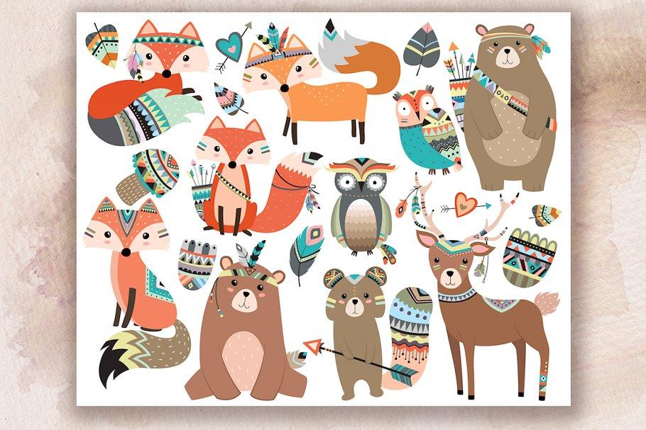 Tribal woodland animals clipart jpg free download Woodland Tribal Animals V.2 Clipart jpg free download