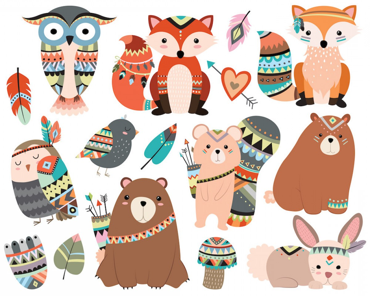 Tribal woodland animals clipart clip art royalty free Woodland Tribal Animals Clipart Dpi | Savoyuptown clip art royalty free
