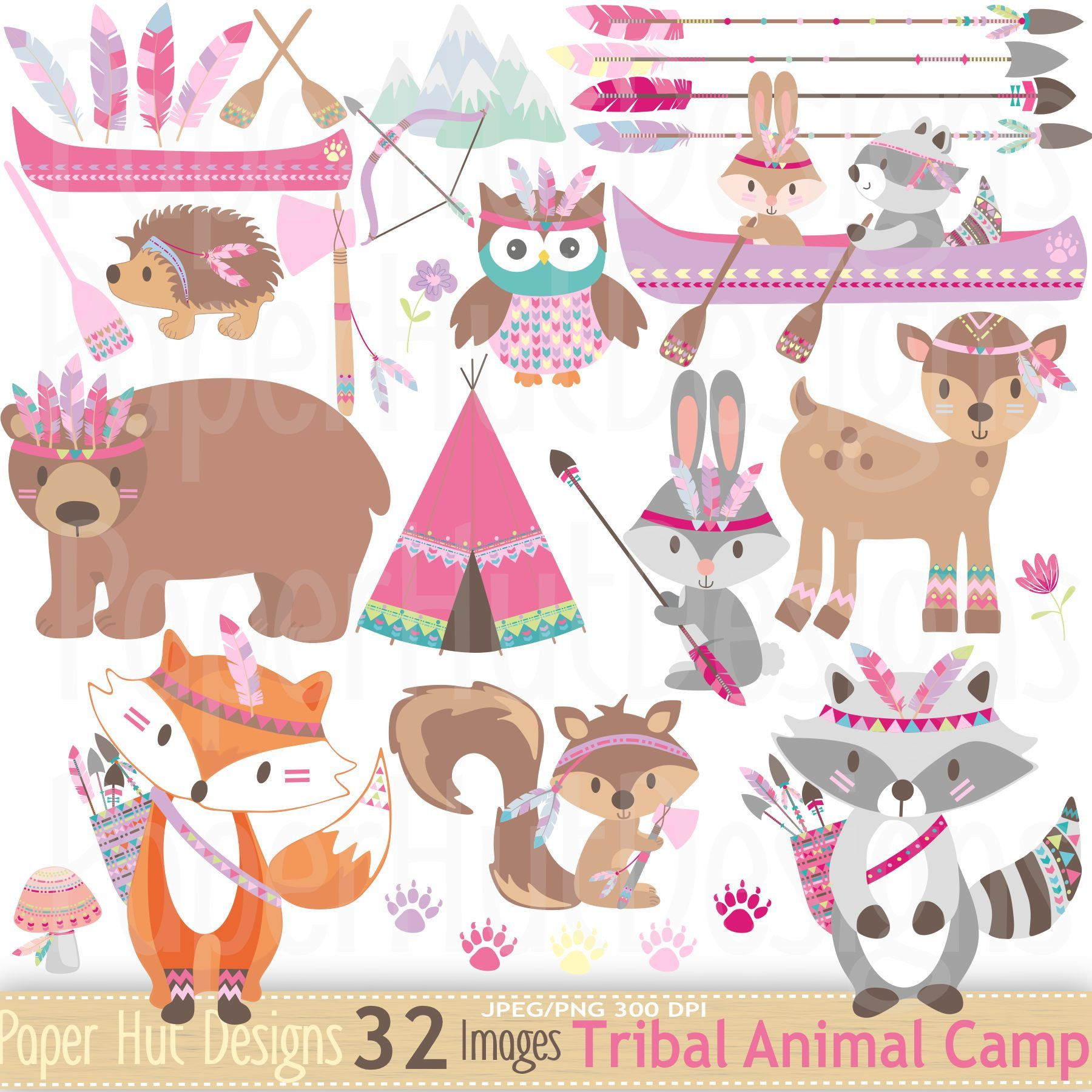 Tribal woodland animals clipart clipart freeuse Girls Tribal Animals Clipart-Woodland Animals Camping Clip ... clipart freeuse