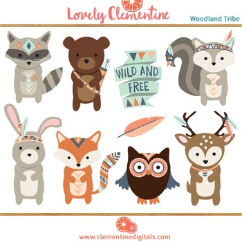 Tribal woodland animals clipart vector library Woodland tribal animals clip art - Lovely Clementine vector library