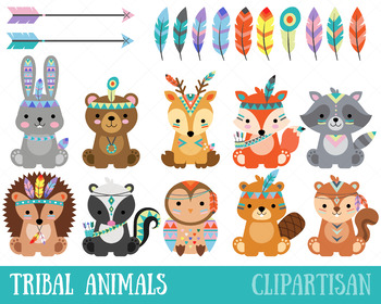 Tribal woodland animals clipart picture free library Tribal Woodland Animal Clip Art, Forest Animals picture free library