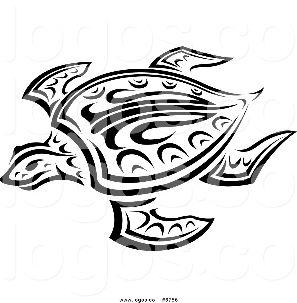 Royalty Free Clip Art Vector Logo of a Tribal Sea Turtle in ... clip black and white