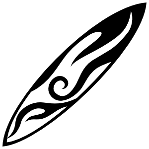 Surfboard With Tribal Flames Sticker png black and white download