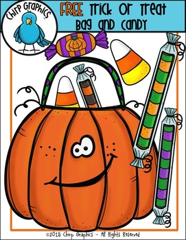 Trick or treat candy clipart royalty free stock FREE Halloween Trick or Treat Bag and Candy Clip Art Set - Chirp Graphics royalty free stock