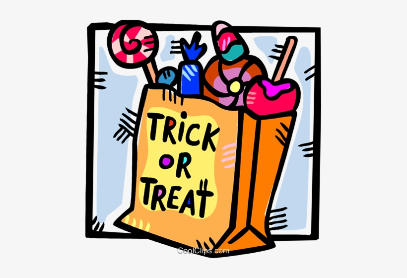 Trick or treat candy clipart picture Bag Halloween Candies Royalty Free Vector Clip Art - Trick ... picture