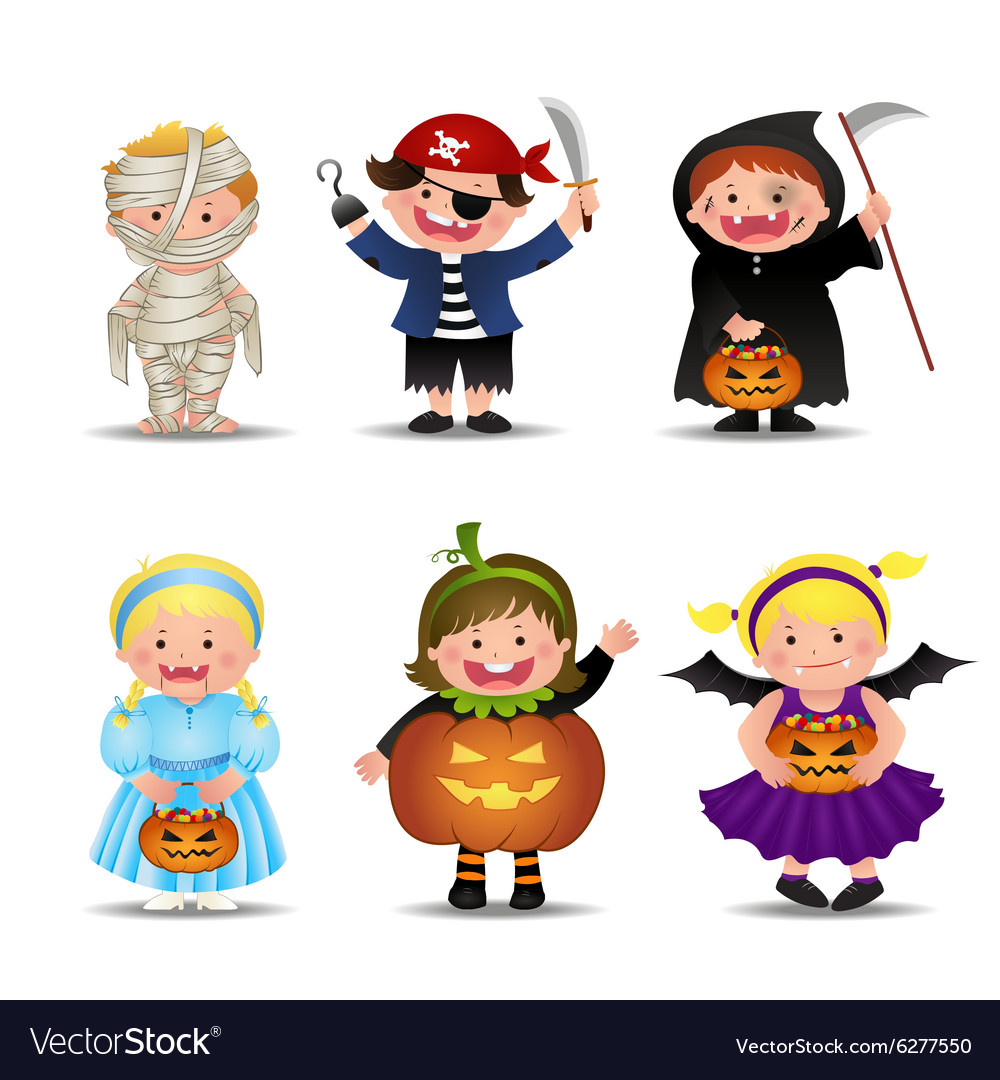Cartoon Cute Halloween Kids In Trick Or Treat clip art black and white stock