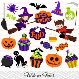 Trick or treat clipart banner stock Halloween Clip Art, Trick or Treat Clipart, Halloween Boy and Girl Clipart,  00150 banner stock