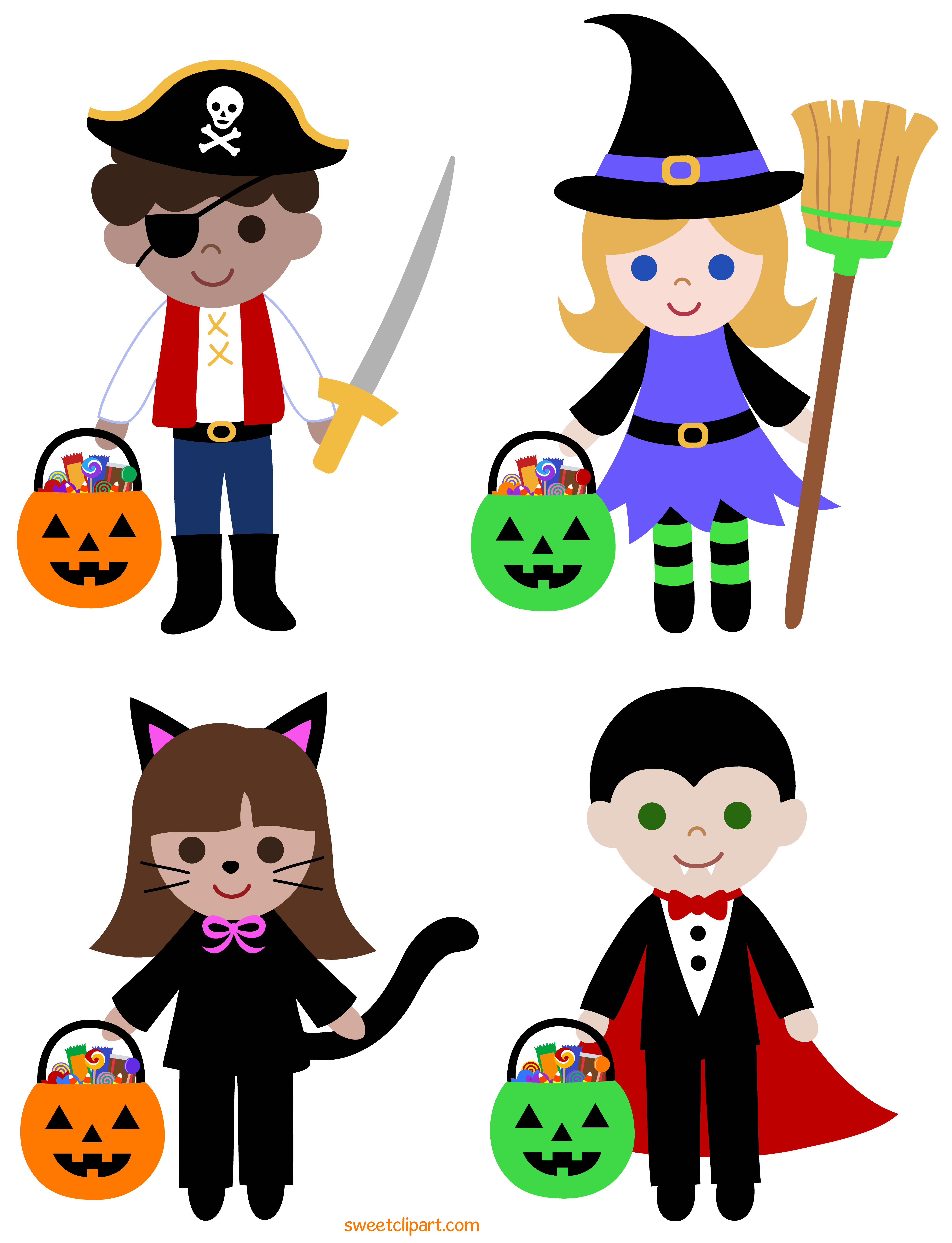 Trick or Treat Halloween Kids Clipart - Free Clip Art image free stock