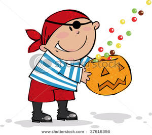 Clipart Image: A Pirate Boy Trick Or Treating royalty free download