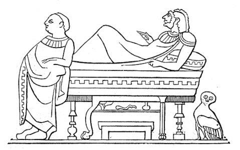 Antike Darstellung Des Menschen Auf Ein Triclinium premium ... graphic black and white stock