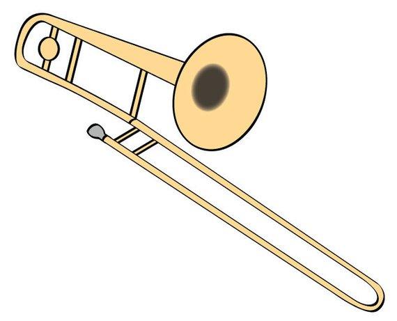 Trigger trombone clipart banner transparent Trombone Vector Illustration Digital Download Music Clip Art ... banner transparent