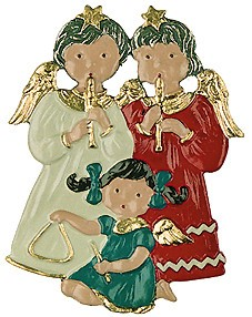 Trio of child angels clipart image transparent library Angel Trio - Angels and Children - Christmas - Kühn Pewter image transparent library