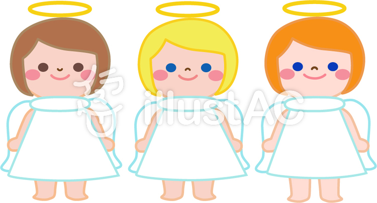 Trio of child angels clipart clipart freeuse download Free Cliparts : angel Trio line up Christ - 118200 | illustAC clipart freeuse download