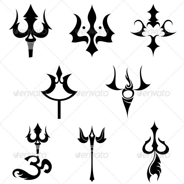 Trishul images clipart image black and white library Hindu Religious Sign Trishul - Vector Designs Pack ... image black and white library