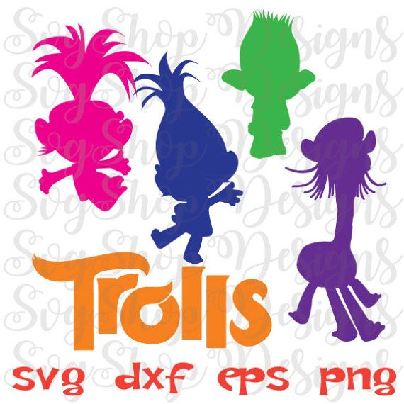 Troll silhouette clipart png royalty free Instant Download SVG Trolls trolls movie dxf by ... png royalty free
