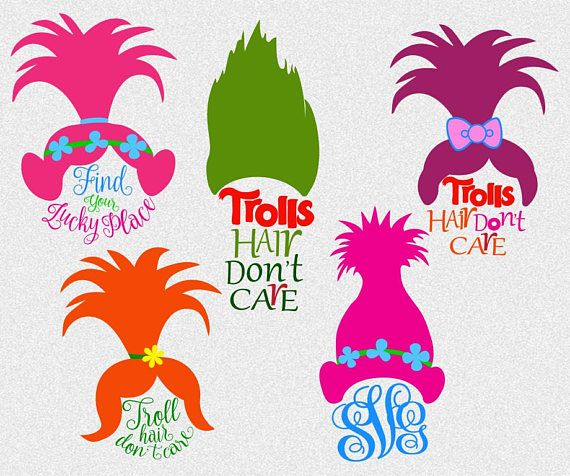 Troll silhouette clipart black and white download Trolls svg Troll svg Troll hair Don\'t Care Trolls | trolls ... black and white download
