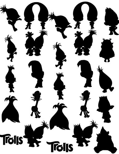 Troll silhouette clipart picture transparent download Amazon.com: Trolls Silhouettes Scrapbook Sticker Pack: Handmade picture transparent download