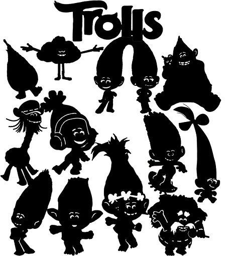Troll silhouette clipart banner freeuse Details about Die Cut Outs Silhouette Trolls, topper Shapes ... banner freeuse