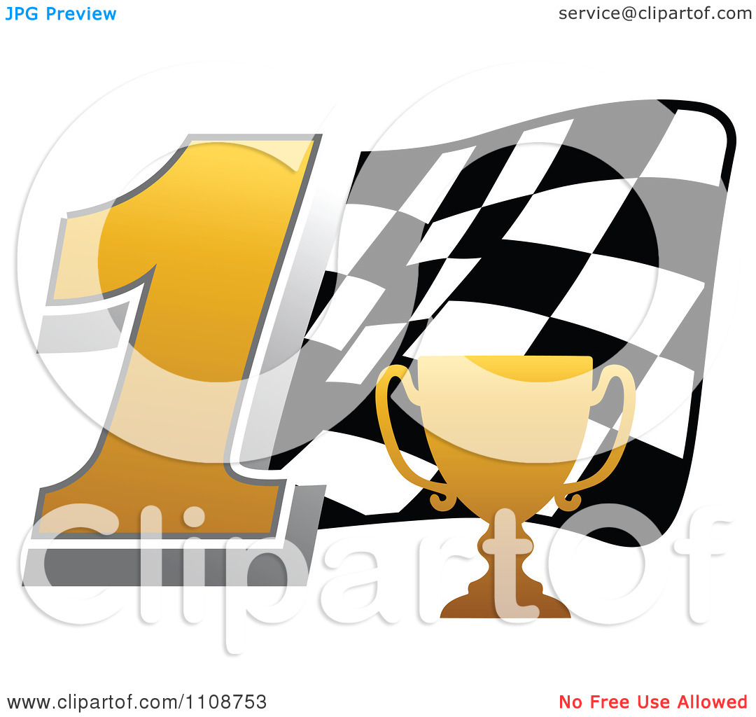 Trophy number 1 clipart free Clipart Gold Trophy Cup Number 1 And Checkered Motor Sports Racing ... free