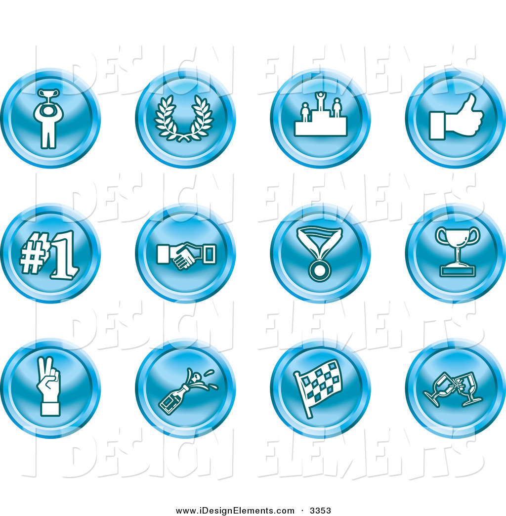 Trophy number 1 clipart clipart royalty free library Clip Art of a Collection of Twelve Blue Icons of a Winner, Laurel ... clipart royalty free library