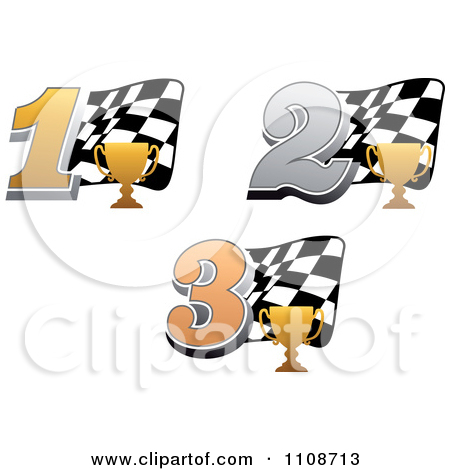 Trophy number 1 clipart banner transparent library Clipart Gold Trophy Cups Number 1 2 And 3 And Checkered Motor ... banner transparent library