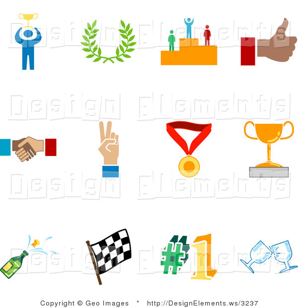 Trophy number 1 clipart free Design Element Clipart of a Collection of Twelve Colorful Champion ... free