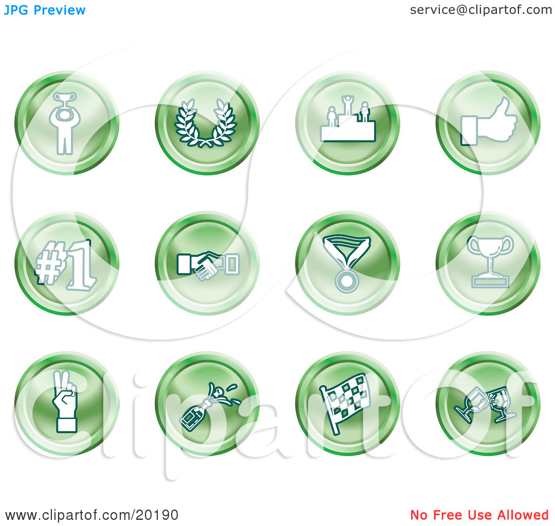 Trophy number 1 clipart clip royalty free stock Clipart Illustration of a Collection Of Green Icons Of A Winner ... clip royalty free stock