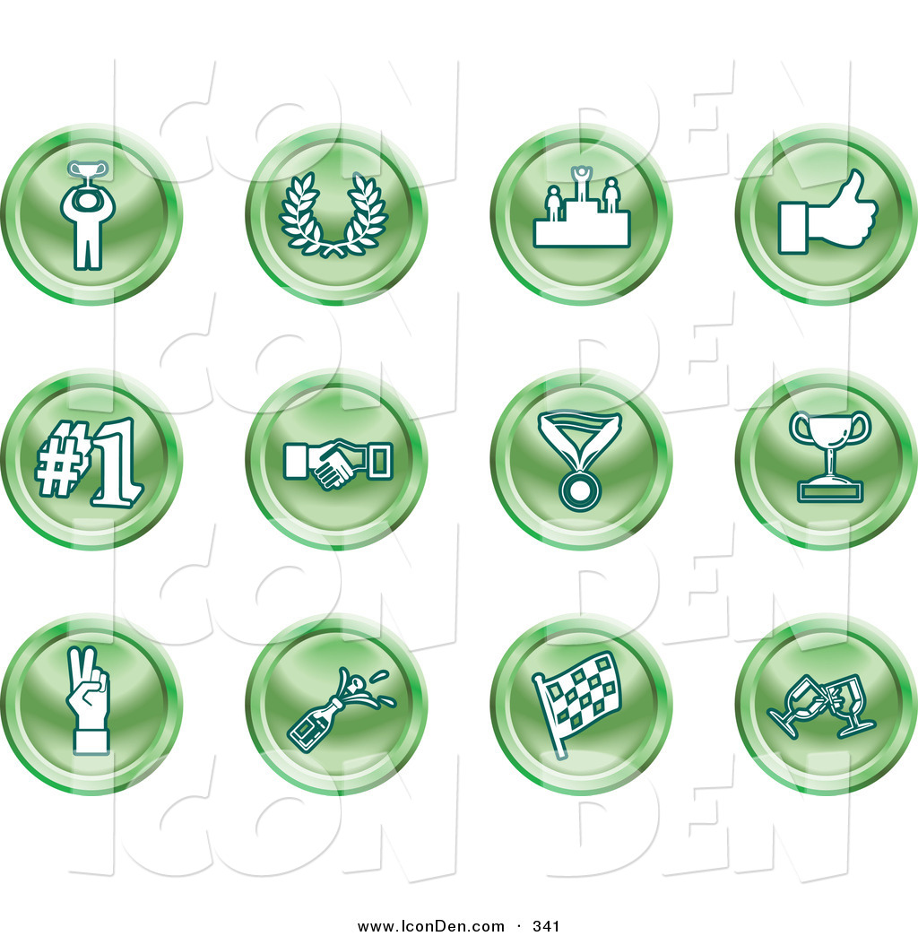 Trophy number 1 clipart picture download Clip Art of a Collection of Twelve Green Icons of a Winner, Laurel ... picture download