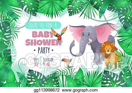 Tropical baby clipart clip freeuse library Vector Stock - Tropical baby shower. elephant lion in jungle ... clip freeuse library
