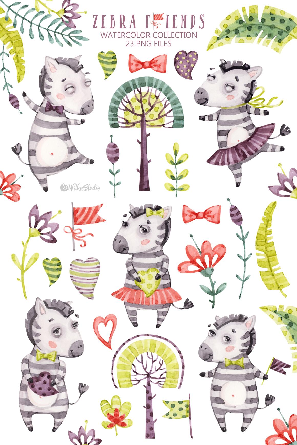 Tropical baby clipart clipart freeuse Cute Zebra Friends clip art. Kids watercolor tropical ... clipart freeuse
