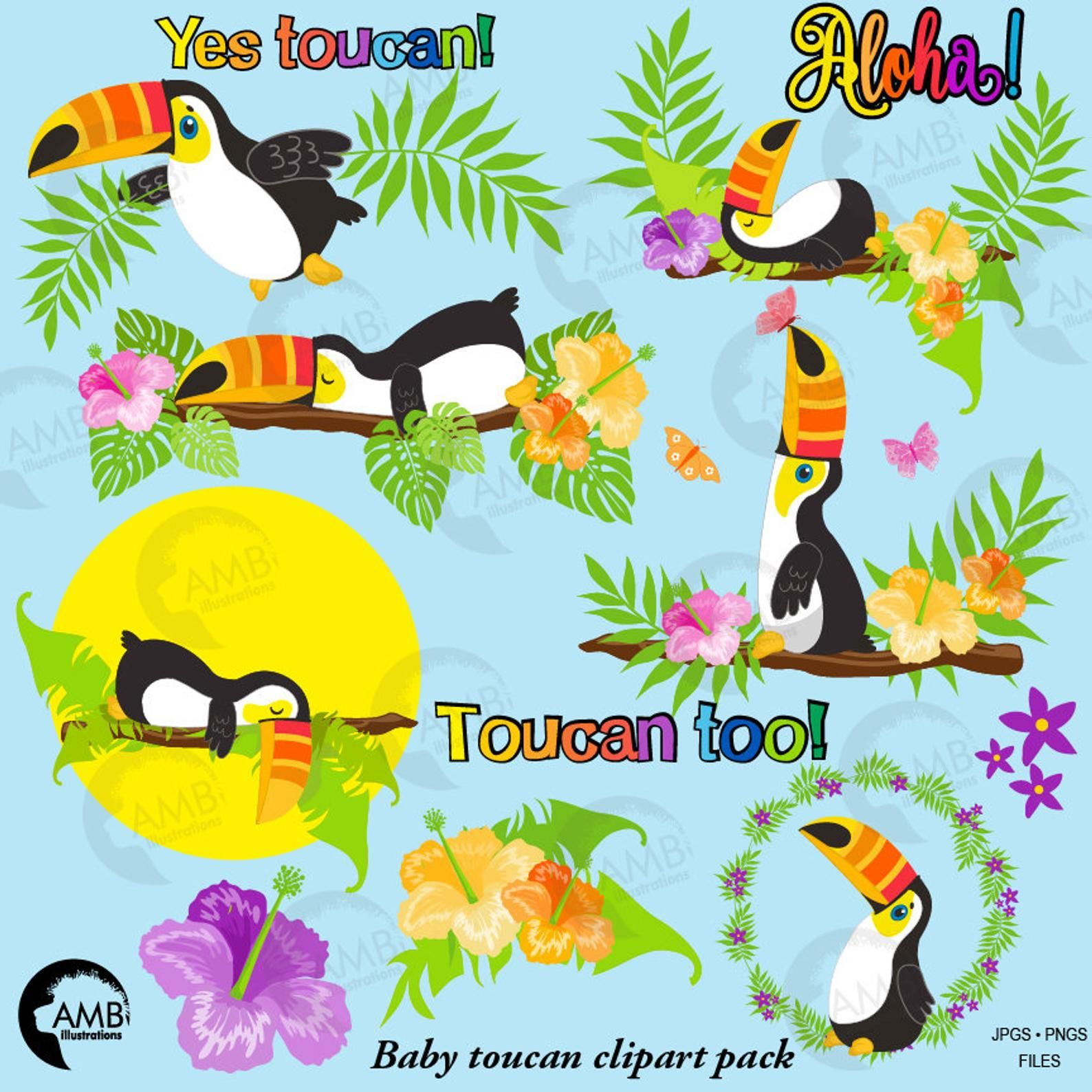 Ambi clipart jpg free Baby Toucan Clipart, tropical Toucan Clipart, Tropical ... jpg free