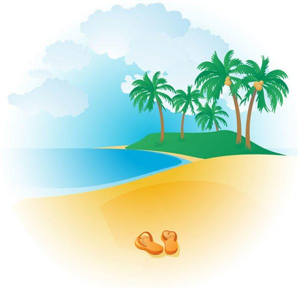 Free Tropical Beach Vector 123freevectors | Voyage dans les ... clip free library