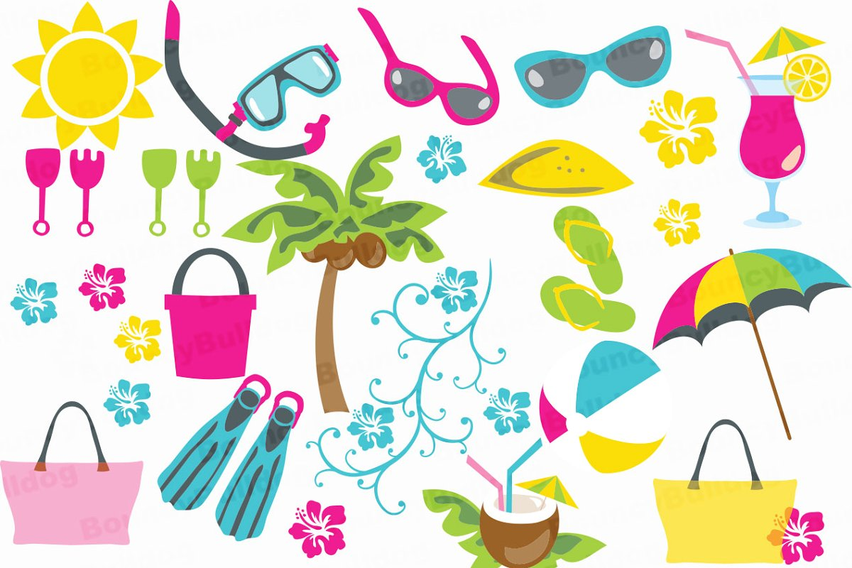 Tropical beach clipart clipart library stock