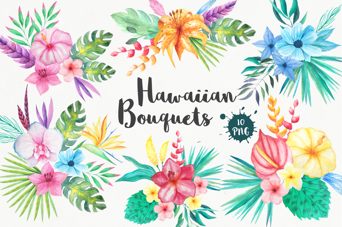 Tropical Bouquets Clipart Set jpg library