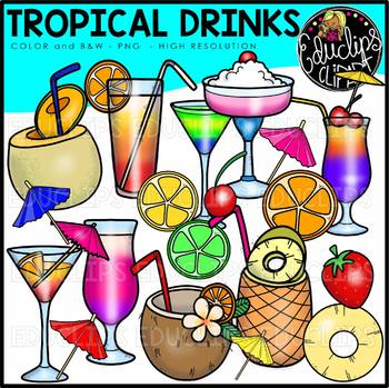 Tropical drinks clipart vector download Tropical Drinks Clip Art Bundle {Educlips Clipart} vector download
