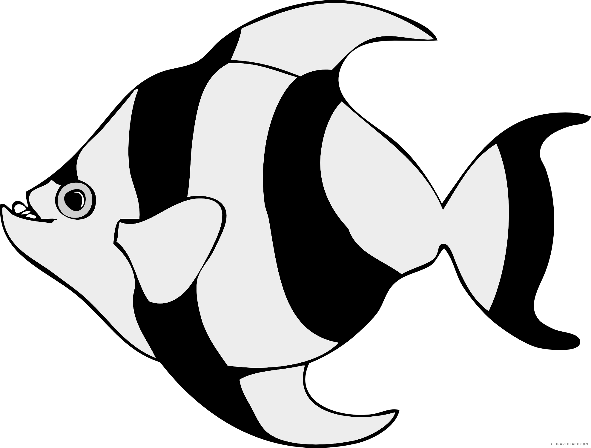 Tropical fish black and white clipart png stock Tropical Fish Clipart - ClipartBlack.com png stock
