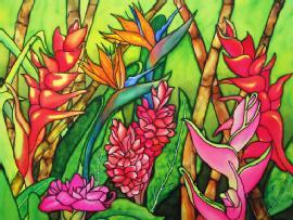 Tropical flower artwork png royalty free library Tropical Flowers - Nina Major Watercolor Art & Silk Painting png royalty free library