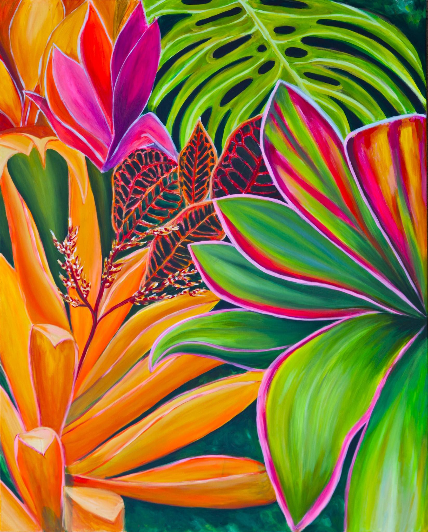 Tropical flower artwork vector royalty free Maui Tropical Flowers - MICHAL ABRAMOVITZ contemporary art vector royalty free