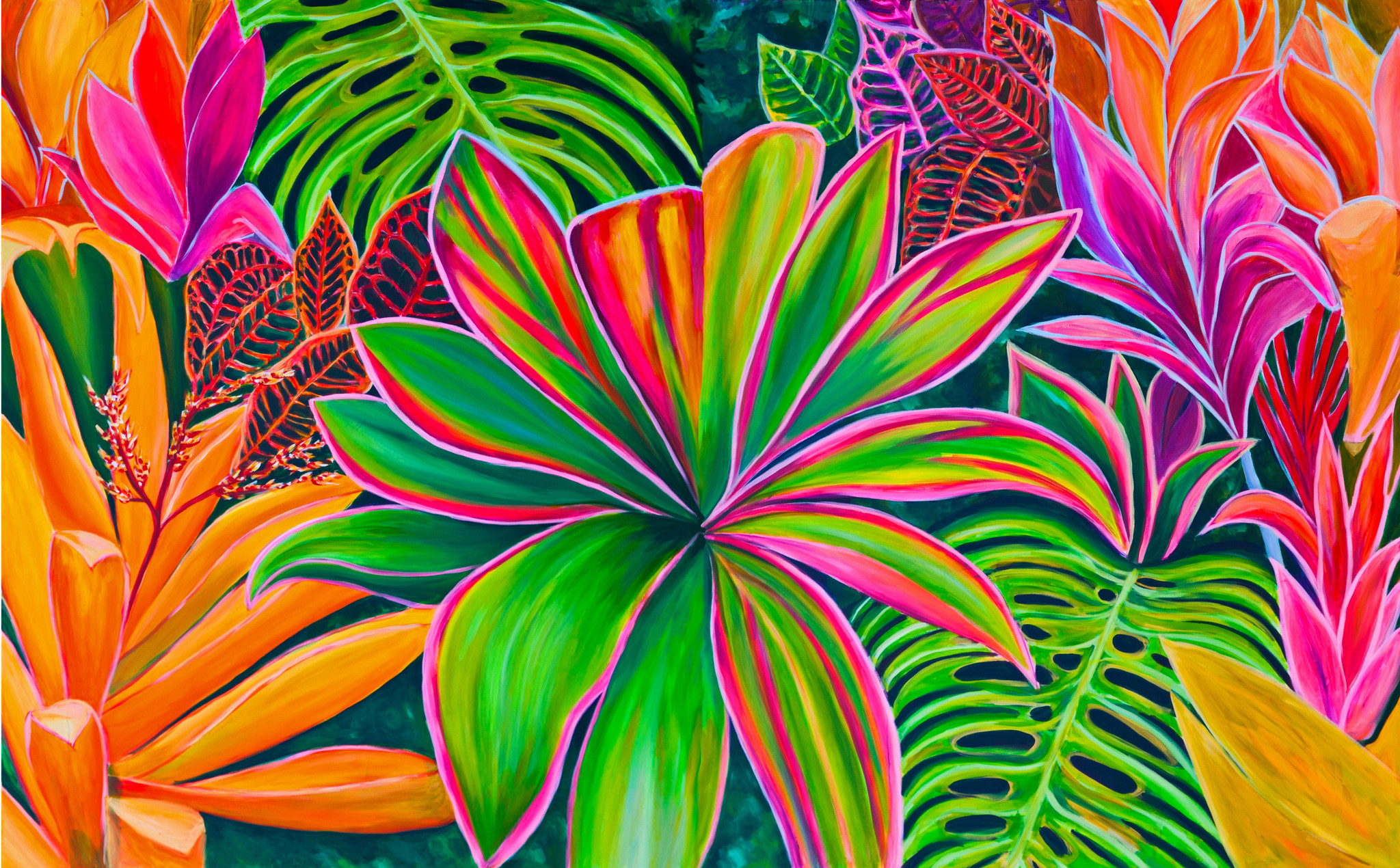Tropical flower artwork png royalty free stock Kauai Flowers #1 - stunning painting - MICHAL ABRAMOVITZ ... png royalty free stock