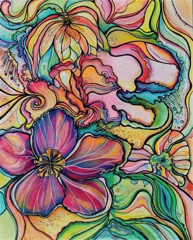 Tropical flower artwork jpg royalty free tropical flowers, tropical plants Looks more linear than drawing ... jpg royalty free