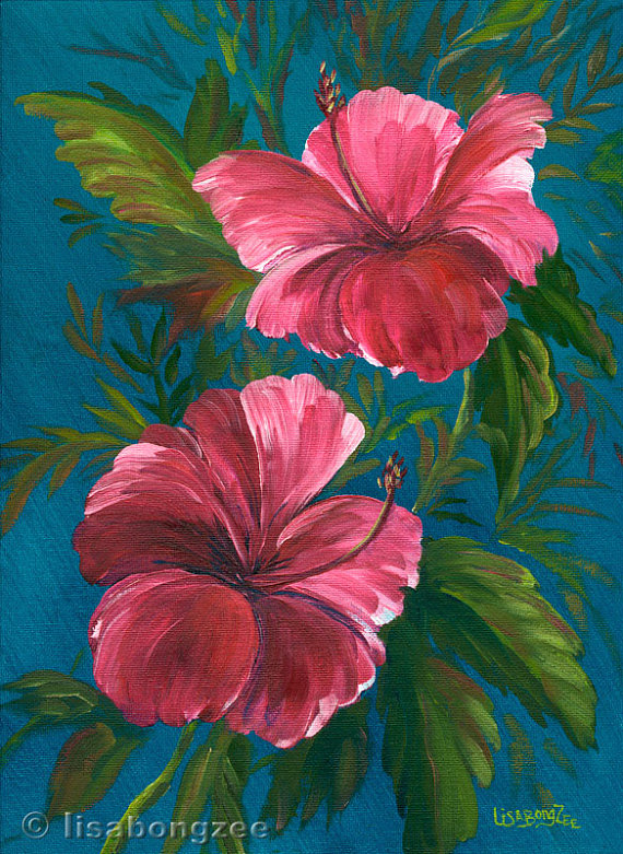 Tropical flower artwork jpg download PINK HIBISCUS Original Oil Painting 12x9 Art Artwork Tropical ... jpg download