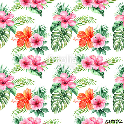 Tropical flowers palm leaves clipart image download watercolor background with tropical flowers, palm leaves ... image download