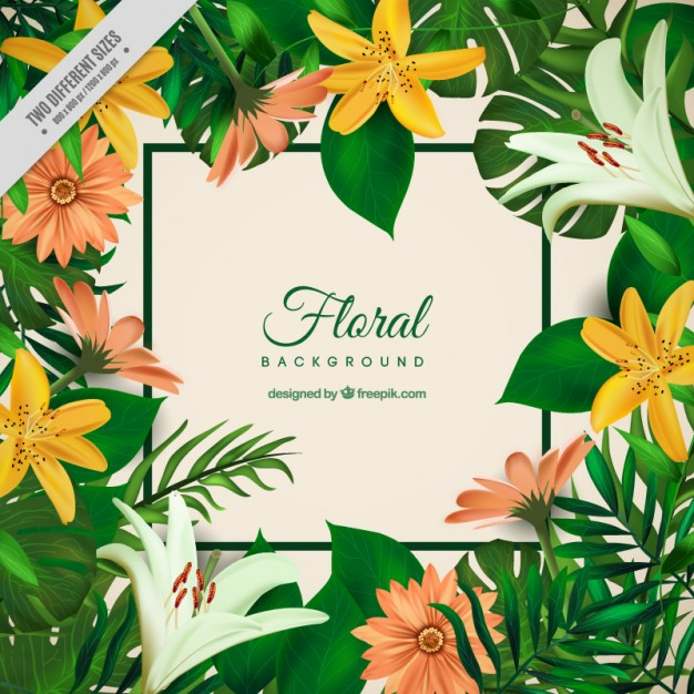 Tropical flowers palm leaves clipart clipart library Exotic flowers and palm leaves background Vector | Free Download clipart library