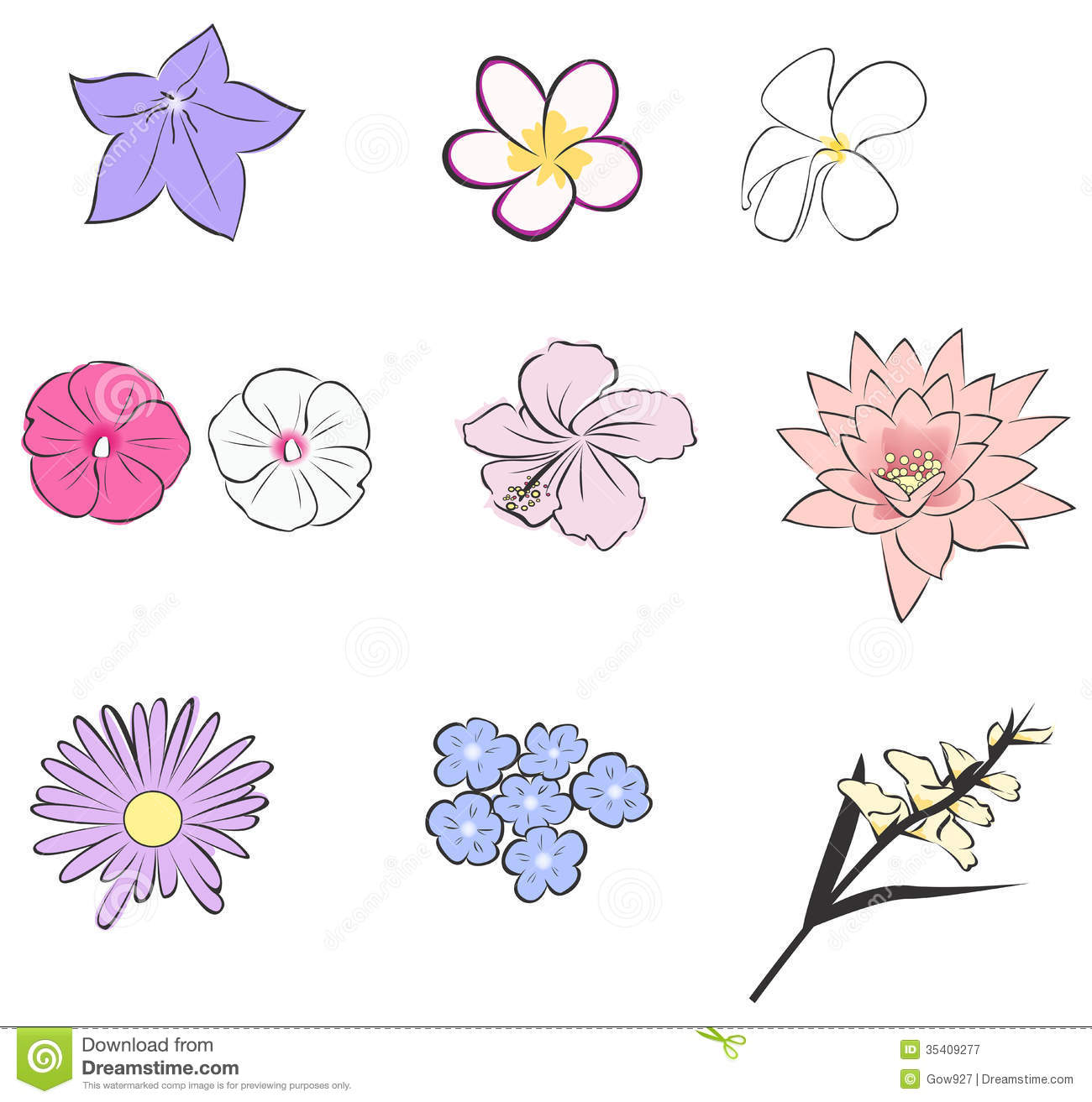 Tropical flowers pictures free jpg royalty free Simple Tropical Flower Icon Collection Set (vector Royalty Free ... jpg royalty free
